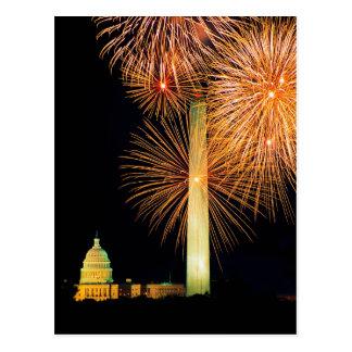 Carte Postale Quatrième de juillet, affichage de feu d'artifice,