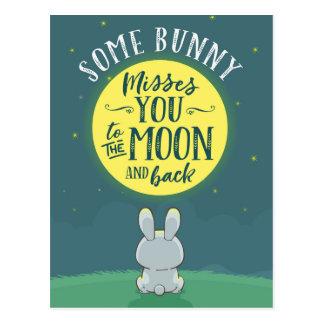 Carte Postale Quelques Mlles You de lapin à la lune et au dos