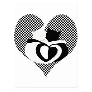 Carte Postale Queues de CAT - blanc noir d'amour