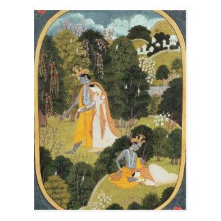 Carte Postale Radha et Krishna marchant dans un verger