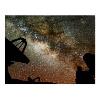Carte Postale Radiotélescopes et manière laiteuse