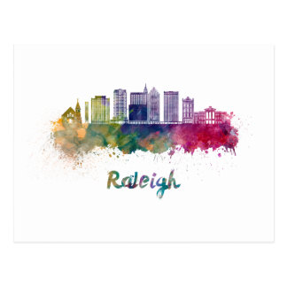Carte Postale Raleigh V2 skyline in watercolor