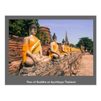 Carte Postale Rangée de Bouddha à Ayutthaya Thaïlande