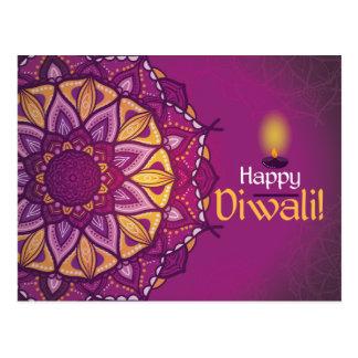 Carte Postale Rangoli ornemental pourpre de diwali heureux