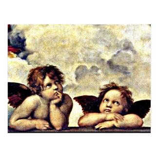 Carte Postale Raphael : Putti, détail du Sistine Madonna