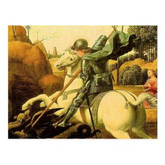 """Carte Postale Raphael """"St George et le dragon"""" (circa 1505)"""