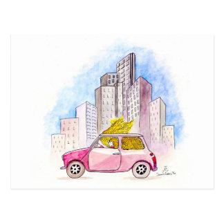 Carte Postale Rapunzel conduit Mini Cooper
