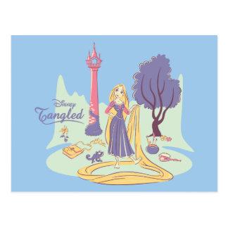 Carte Postale Rapunzel et Pascal à de jolis pastels