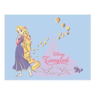 Carte Postale Rapunzel et Pascal dans le pourpre
