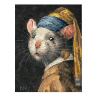 """Carte postale """"rat avec la peinture d'une boucle"""