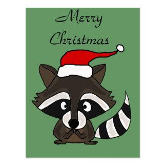 Carte Postale Raton laveur drôle dans l'art de Noël de casquette