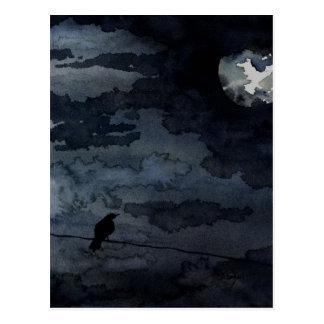 Carte Postale Raven éclairé par la lune - art de pleine lune