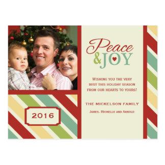 Carte postale rayée de vacances de PAIX et de JOIE