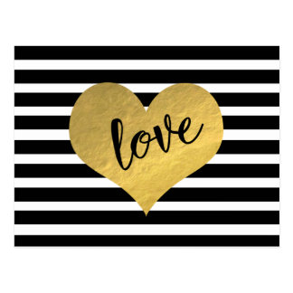 Carte Postale Rayures de coeur d'or d'amour