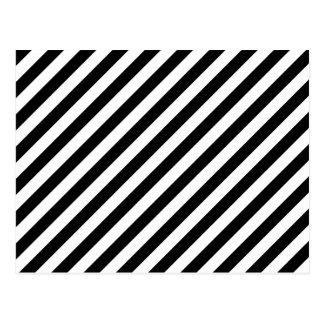 Carte Postale Rayures diagonales noires et blanches