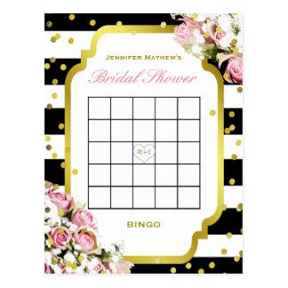 Carte Postale Rayures et roses nuptiales du bingo-test | de
