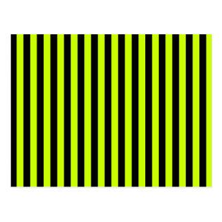 Carte Postale Rayures minces - noires et jaune fluorescent