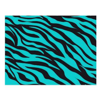 Carte Postale Rayures turquoises à la mode de zèbre de noir de