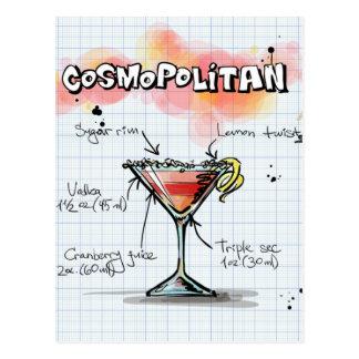 Carte Postale Recette cosmopolite - cadeau de cocktail
