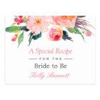 Carte Postale Recette nuptiale florale de douche d'aquarelle