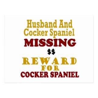 Carte Postale Récompense absente de cocker et de mari pour le