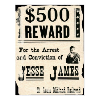 Carte Postale Récompense pour Jesse James