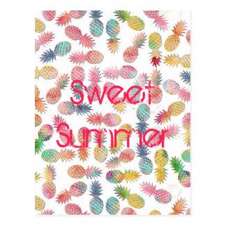 """Carte Postale Refroidissez le motif d'ananas d'aquarelle """"d'été"""