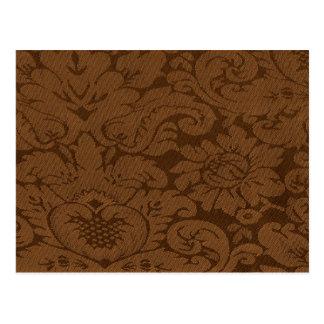 Carte Postale Regard d'armure de damassé de Brown de caramel