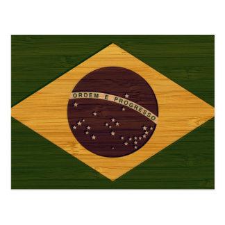 Carte Postale Regard en bambou et drapeau vintage gravé du