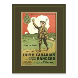 CARTE POSTALE RÉGIMENT CANADIEN IRLANDAIS