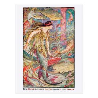 Carte Postale Reine de sirène des poissons
