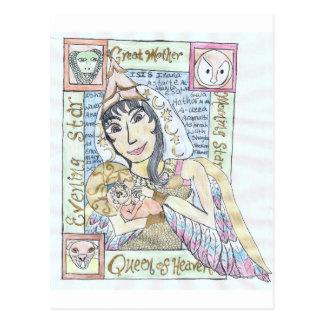 Carte Postale Reine païenne de ciel et enfant saint