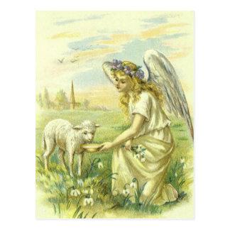 Carte Postale Religion vintage, ange victorien de Pâques avec