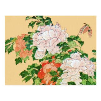 Carte Postale Remise à zéro de pivoines et de papillon de