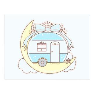 Carte Postale Remorque de campeur vintage rêveuse