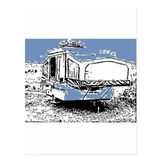 Carte Postale Remorque de tente sur le bleu