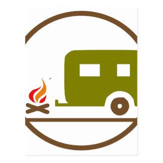 Carte Postale Remorque et feu de camp du camping rv