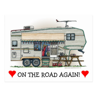 Carte Postale Remorque mignonne de voyage de campeur de