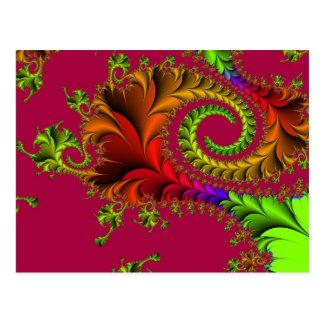 Carte Postale Remous plumeux colorés de fractale