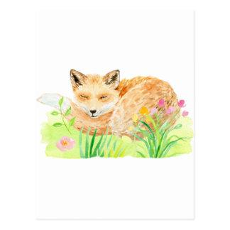 Carte Postale Renard de sommeil d'illustration d'aquarelle
