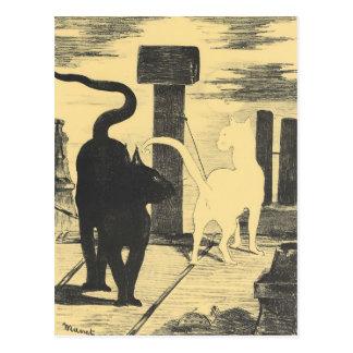 Carte Postale Rendevouz des chats par Edouard Manet