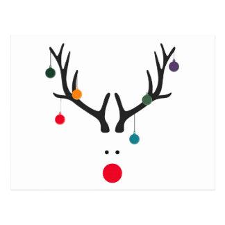 Carte Postale Renne abstrait drôle moderne de Noël sur le blanc