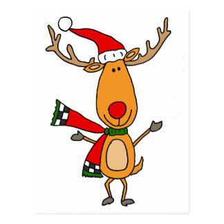 Carte Postale Renne au nez rouge mignon drôle de Rudolph