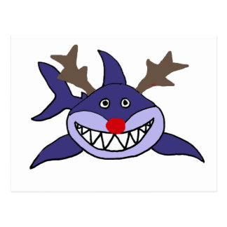 Carte Postale Renne drôle de requin de Noël