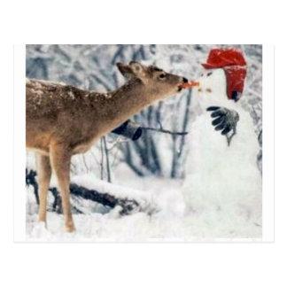 Carte Postale Renne mangeant le bonhomme de neige