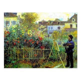 Carte Postale Renoir - peinture de Monet dans son jardin