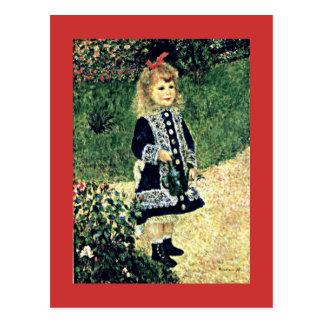 Carte Postale Renoir - une fille avec une boîte d'arrosage