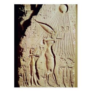 Carte Postale Representation d'Amenophis IV, de Nefertiti et de