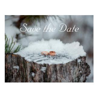 Carte Postale Réservez la date--Mariage d'hiver