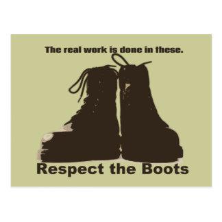 Carte Postale Respectez les bottes : Quels VRAIS travailleurs